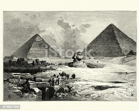 Vintage engraving of the Pyramids of Giza and the Great Sphinx of Giza