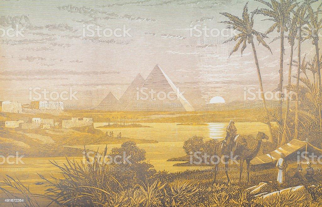 Pyramids at Sunset vector art illustration
