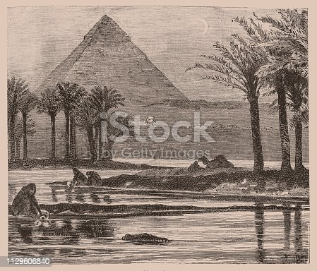 Illustration of a Pyramids of Giza during a Nile flooding