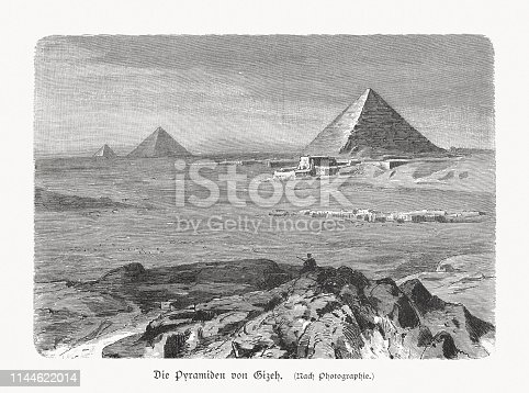 The Pyramids of Giza in Egypt. Wood engraving after a photograph, published in 1897.