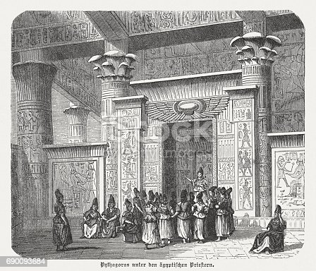 Pythagoras (c. 570 - c. 495 BC, Greek philosopher and mathematician) among the Egyptian priests. Wood engraving, published in 1880.