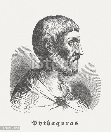 Pythagoras of Samos (c. 570 BC - after 510 BC) was an ancient Greek philosopher. Some historians consider him one of the pioneers of the early Greek philosophy, mathematics and natural science. He is best known for the Pythagorean theorem which bears his name. Woodcut engraving, published in 1864.