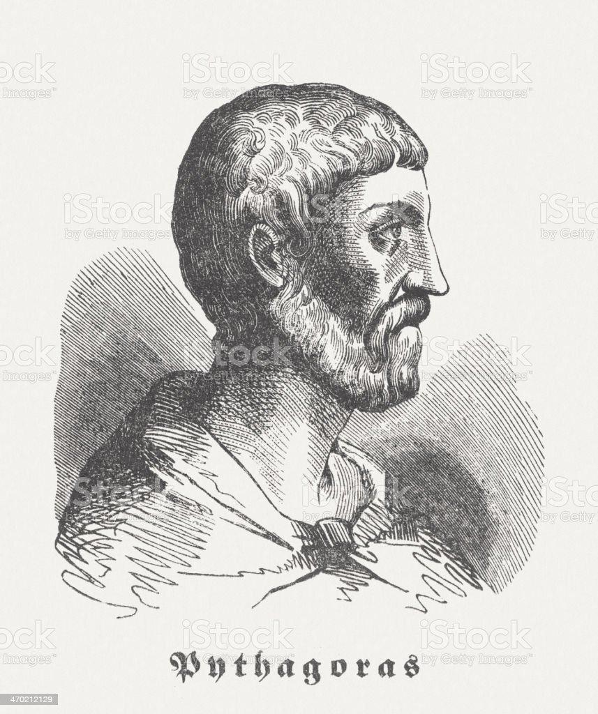Pythagoras of Samos (c. 570 BC-after 510 BC), published 1864 vector art illustration