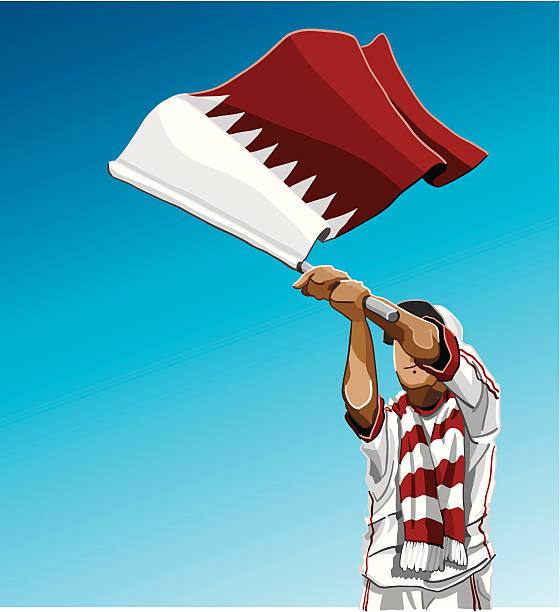 """Qatar Waving Flag Soccer Fan """"Vector Illustration of a Qatari soccer fan. The background is on a separate layer, so you can use the illustration on your own background. The colors in the .eps and .ai-files are ready for print (CMYK). Included files: EPS (v8), AI (CS2) and Hi-Res JPG."""" soccer stock illustrations"""