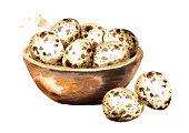 木製のボウルにウズラの卵。白い背景に分離された水彩手描きイラスト