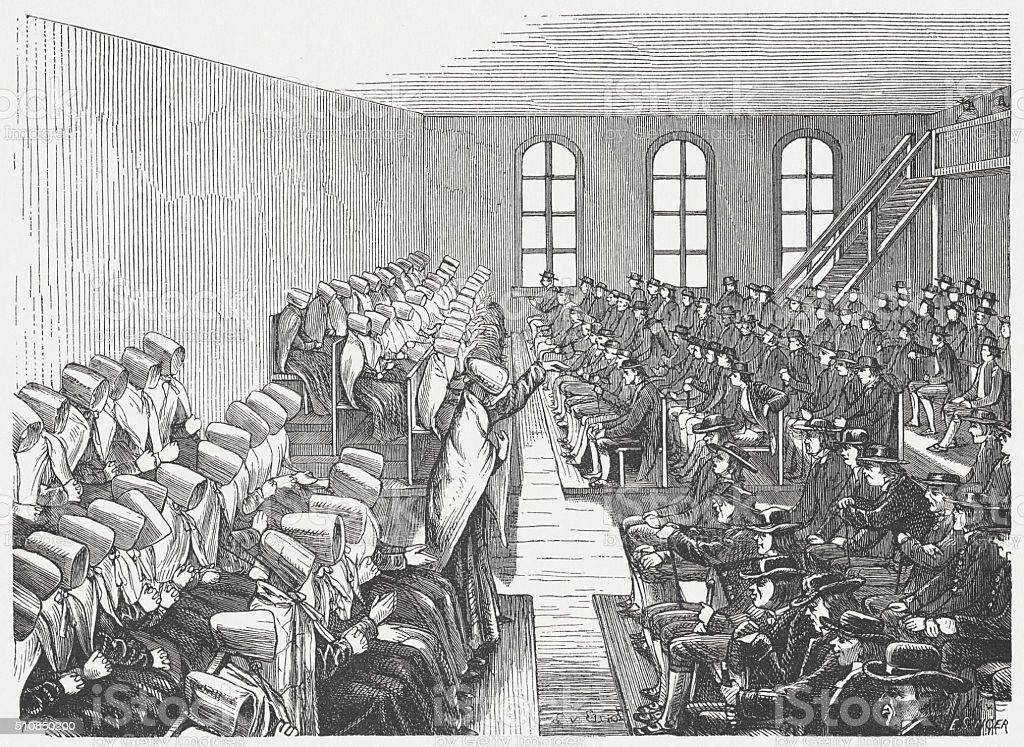 Quaker Meeting in Philadelphia, wood engraving, published in 1880 vector art illustration