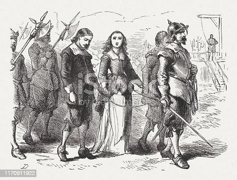 Quakers on the way to execution, Boston, Massachusetts Bay Colony, ca.1660. Wood engraving after a drawing by Felix Darley (American illustrator and engraver, 1824 - 1888), published in 1876.