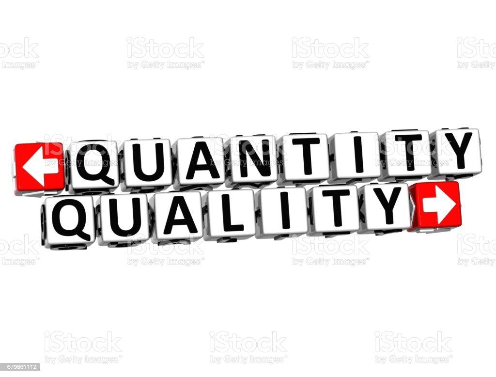 3D Quantity Quality Button Click Here Block Text vector art illustration