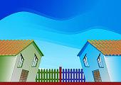 Quarrel between neighbors - conceptual illustration