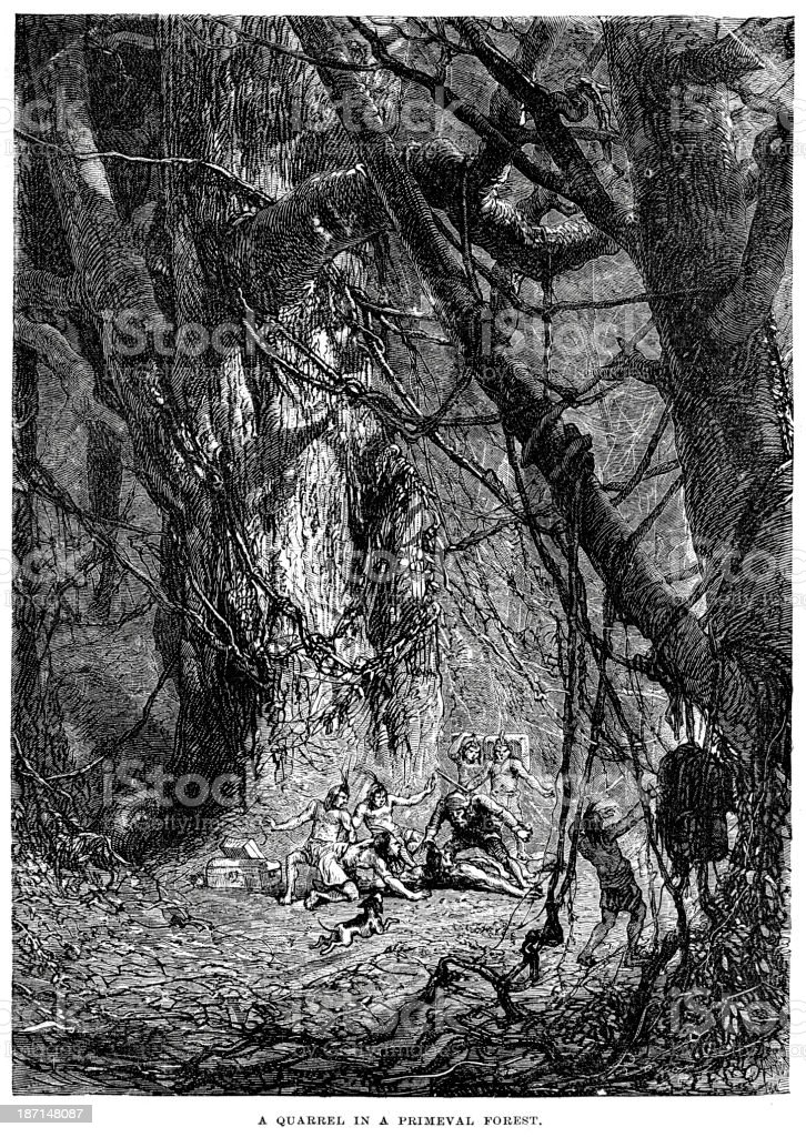 Quarrel in a primeval forest royalty-free stock vector art