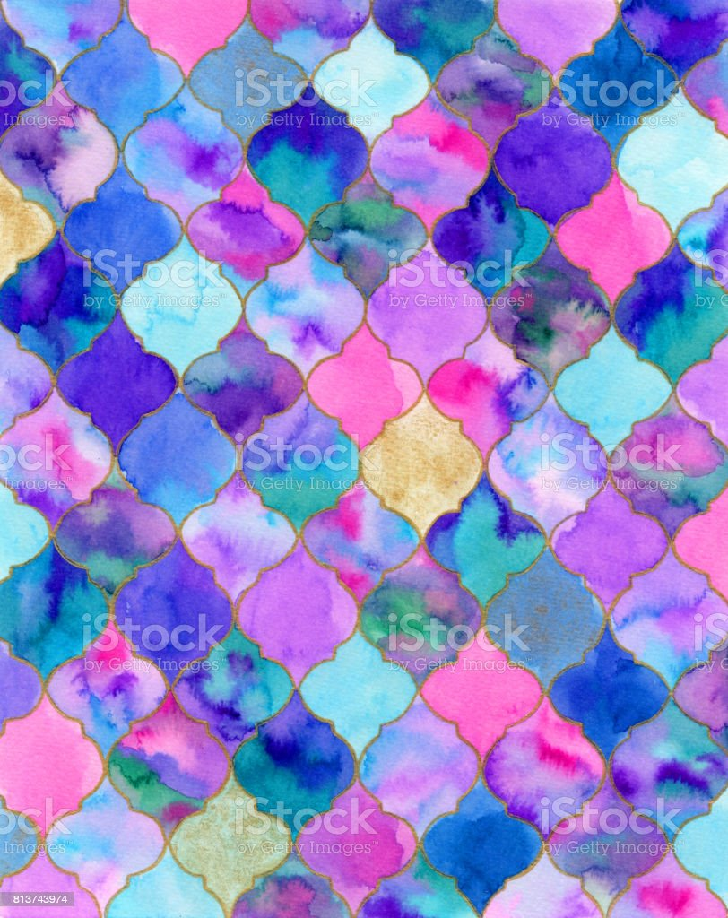 Quatrefoil. Real watercolor illustration vector art illustration