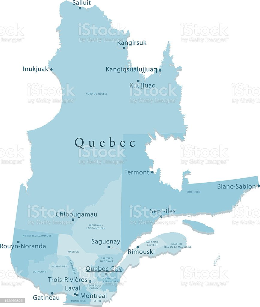 Quebec Vector Map Regions Isolated Stock Vector Art More Images of