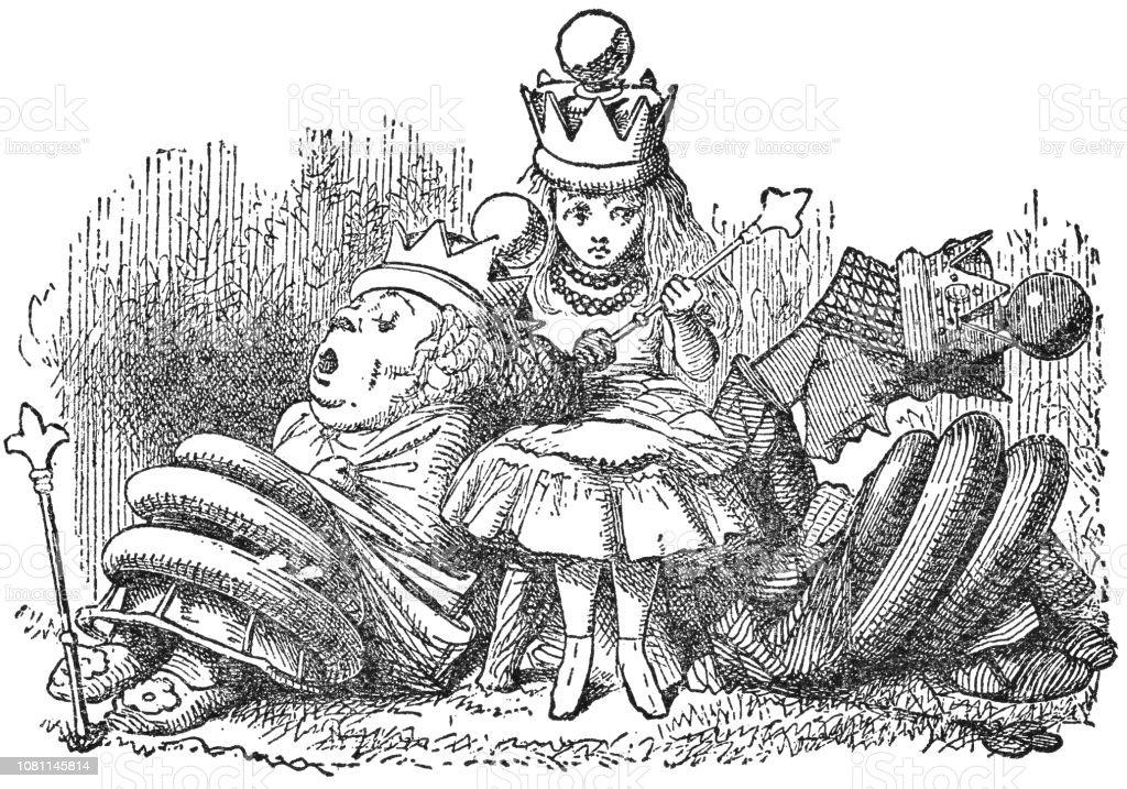 Königin Alice Mit Der Roten Königin Und Weiße Königin In Through The