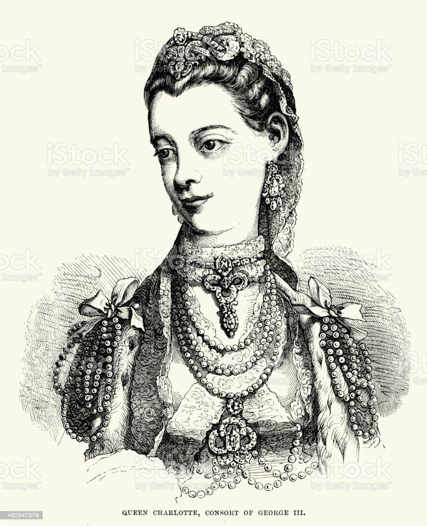 Queen Charlotte of Mecklenburg-Strelitz royalty-free stock vector art