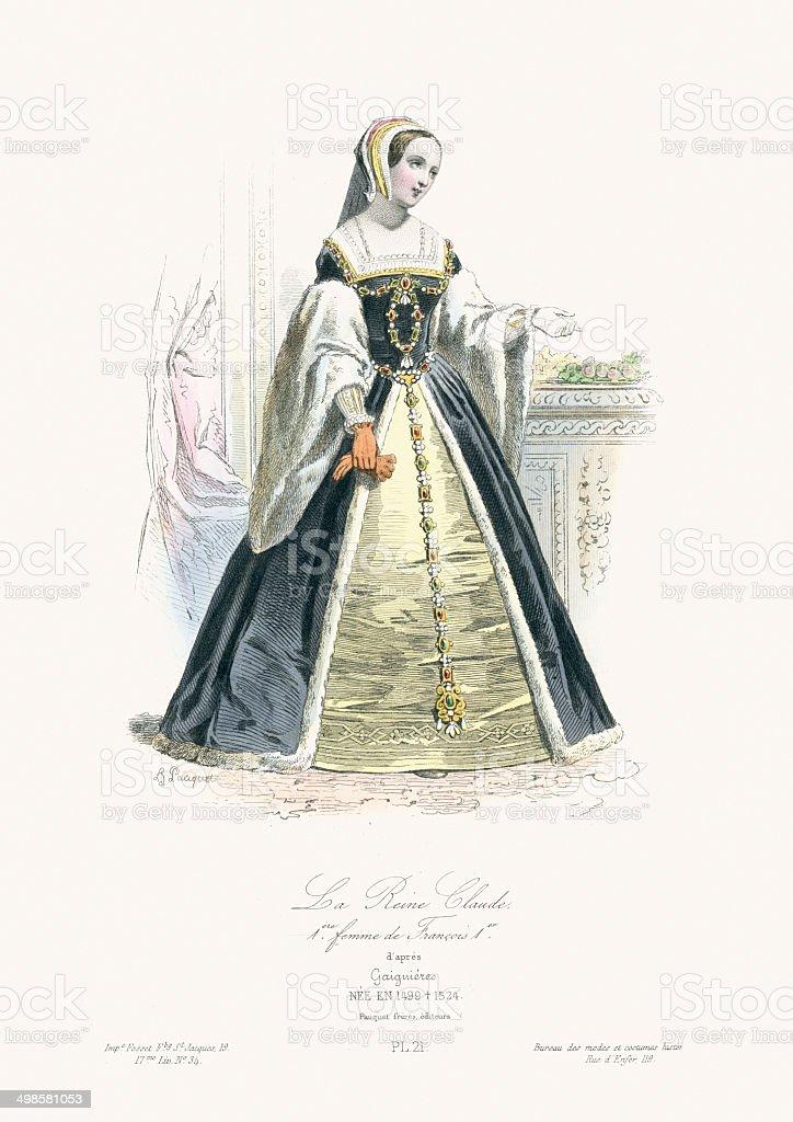 Queen Claude of France vector art illustration