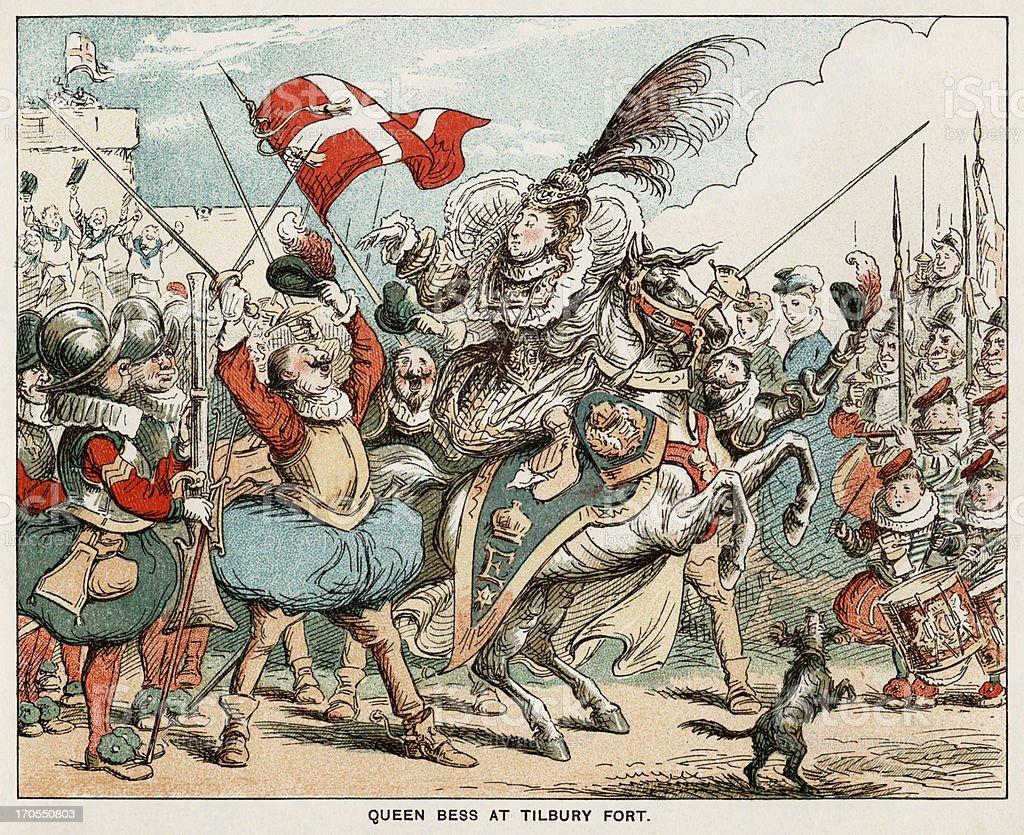 queen at tilbury Queen elizabeth delivers speech to her troops in tilbury before imminent battle in 1588.