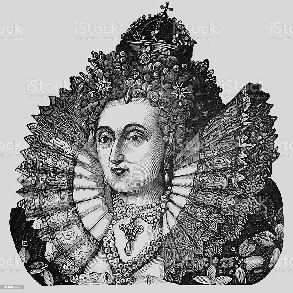 Queen Elizabeth vector art illustration