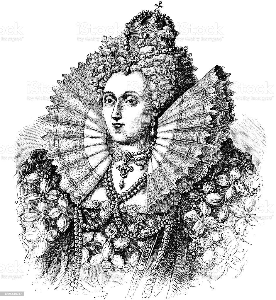 Queen Elizabeth - Victorian Engraving vector art illustration