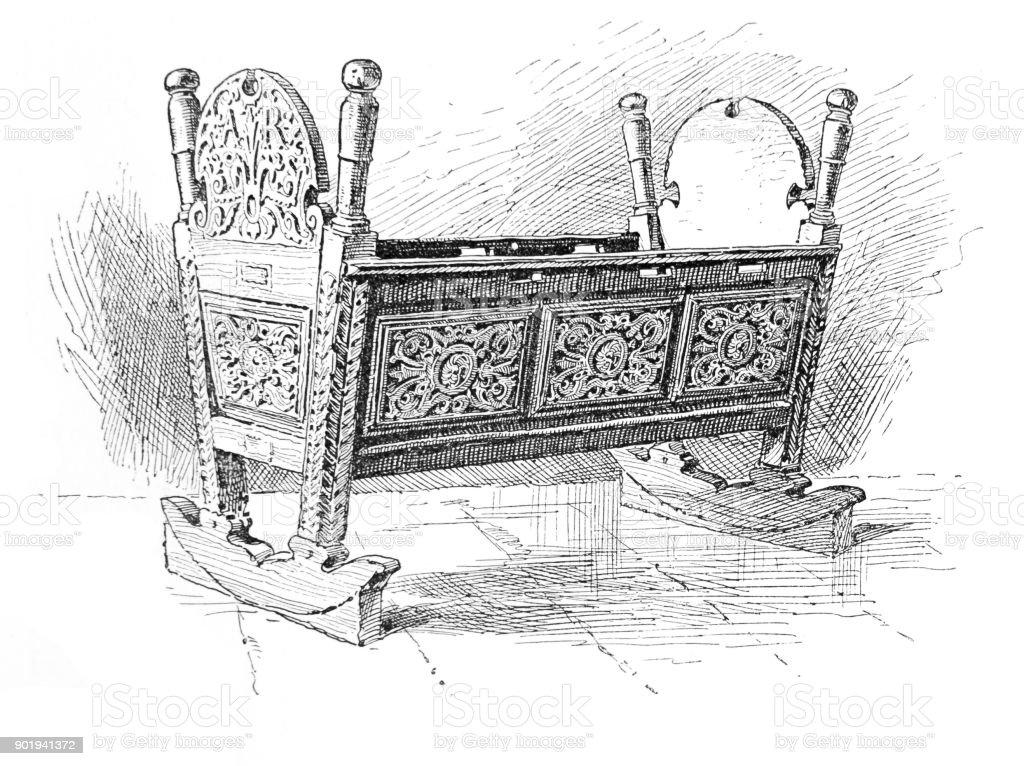Queen Elizabeth's Cradle in Hatfield House vector art illustration