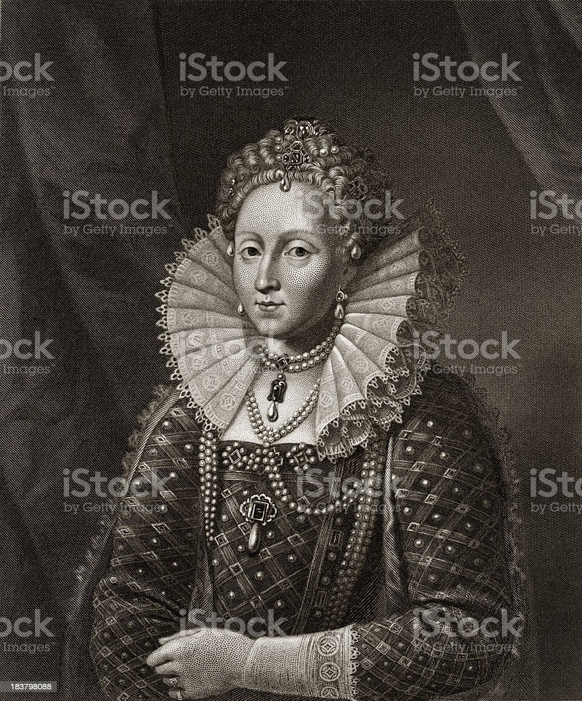 Queen Elizatheh I (Sepia) royalty-free stock vector art