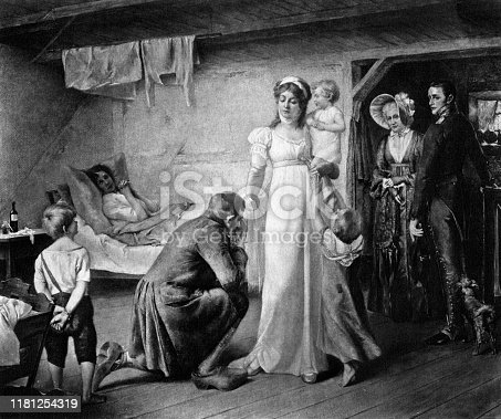 Illustration of Louise of Mecklenburg-Strelitz visiting the poor from 1894.
