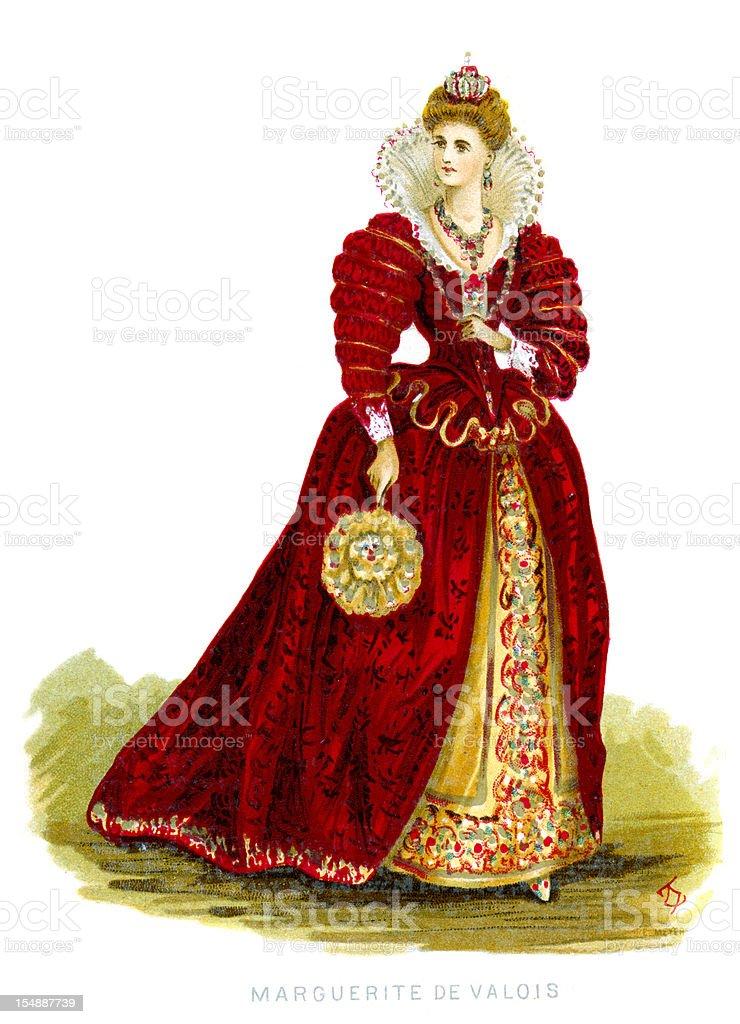 Queen Margaret of Valois royalty-free stock vector art