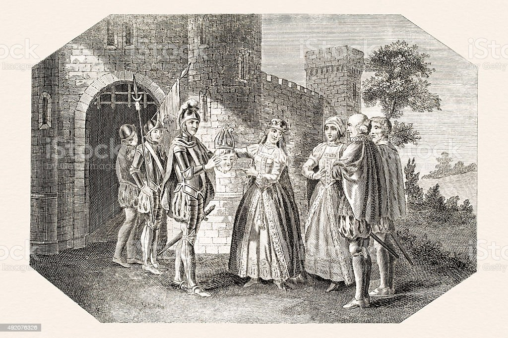 Queen Margaret placing a paper crown on the head vector art illustration