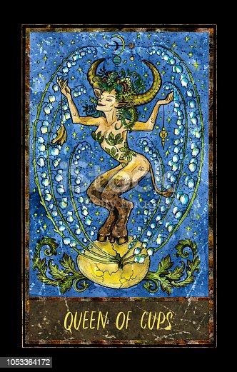 istock Queen of cups. Minor Arcana tarot card 1053364172