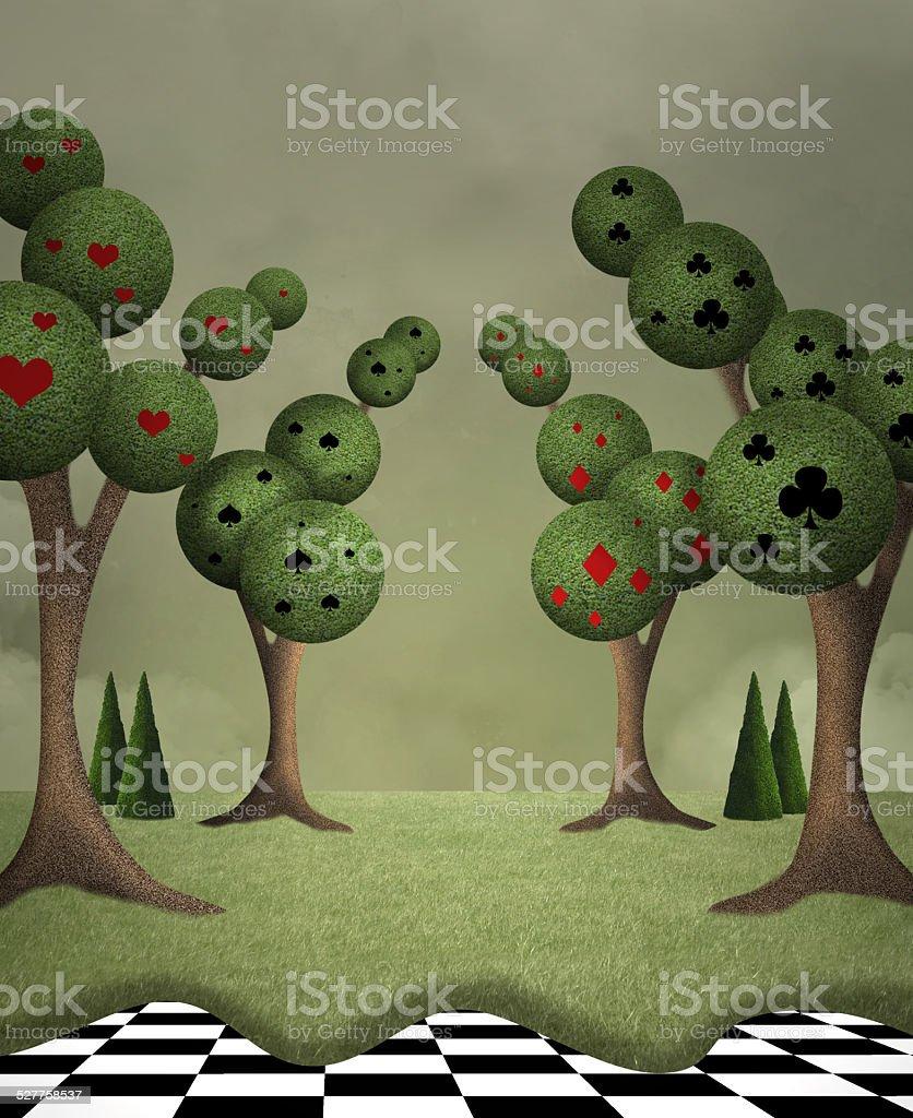 Queen of hearts garden vector art illustration