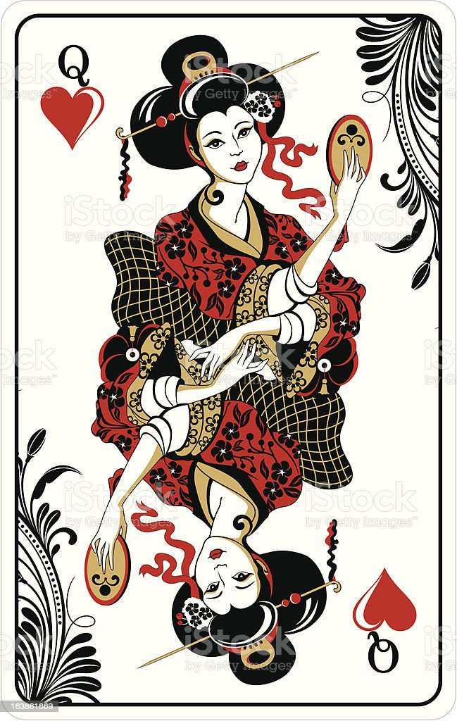 Queen of Hearts - playing card vector art illustration