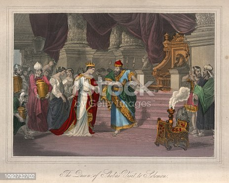 Vintage engraving of Queen of Sheba's visit to King Solomon