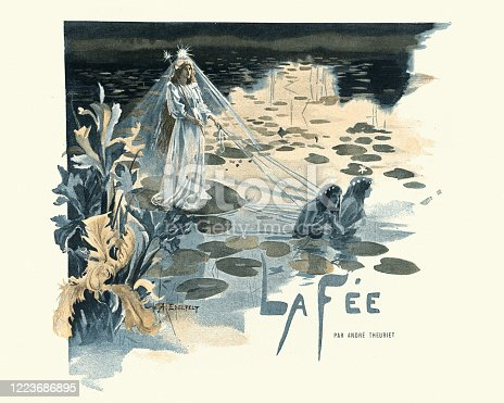 Vintage illustration of Queen of the fairies, pulled by water nymphs, Victorian, 19th Century, 19th Century. La Fee par Andre Theuriet