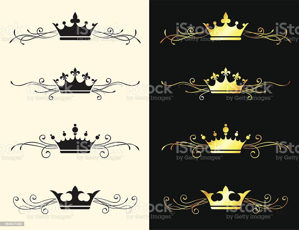 Queen Royal crown gold & black and white banner set royalty-free queen royal crown gold black and white banner set stock vector art & more images of black and white