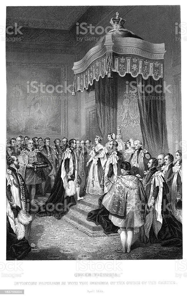 Queen Victoria and Napoleon III royalty-free stock vector art