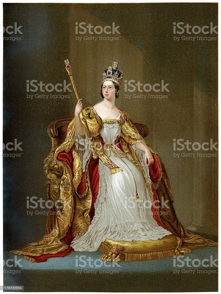 Queen Victoria in 1837 vector art illustration