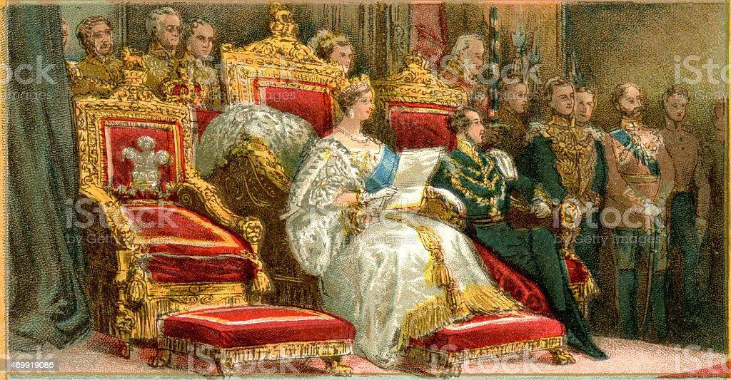 Queen Victoria on her throne vector art illustration