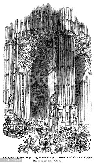 """On 17th July 1837, Queen Victoria attended the Houses of Parliament to prorogue Parliament, arriving in the State carriage and accompanied by a military escort. Prorogation is the formal ending of a parliamentary session; a parliament is prorogued between the end of a parliamentary session and the State Opening of Parliament which marks the start of the next session. From """"The Cottager and Artisan: The People's Own Paper"""" published in 1898 by The Religious Tract Society, London."""