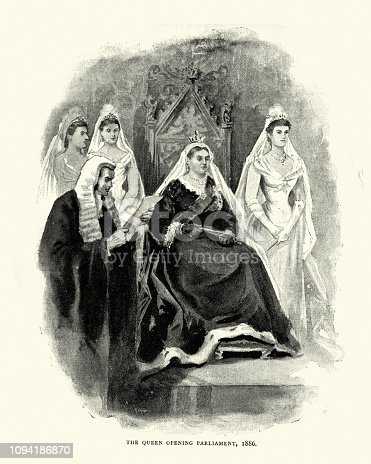 Vintage engraving of Queen Victoria opening Parliament om 1886