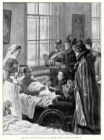 Queen Victoria visiting wounded soilders