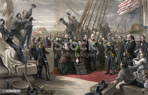 Vintage illustration features Queen Victoria visiting the HMS Resolute, December 16, 1856, after its rediscovery and return to the British by the Americans. The Resolute is a naval ship of the British Royal Navy specially outfitted for Arctic exploration.