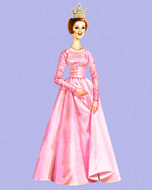 Queen Wearing a Pink Gown vector art illustration
