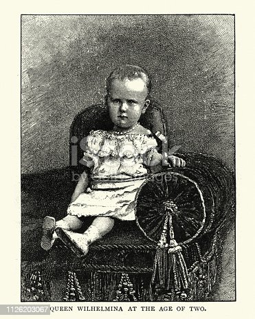 Vintage engraving of Queen Wilhelmina of the Netherlands, aged 2 years