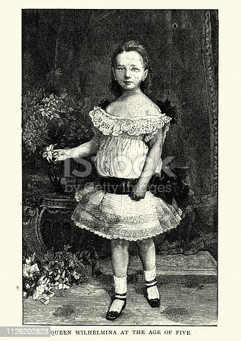 Vintage engraving of Queen Wilhelmina of the Netherlands, aged 5 years