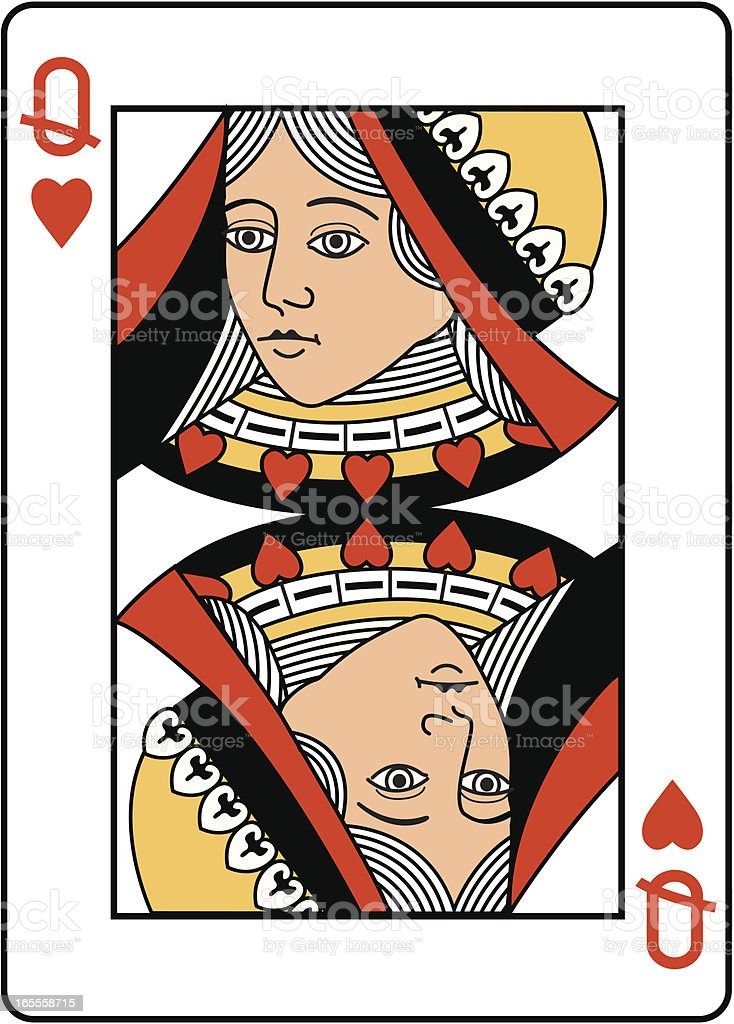 Queens head, Heart Suit playing card. vector art illustration