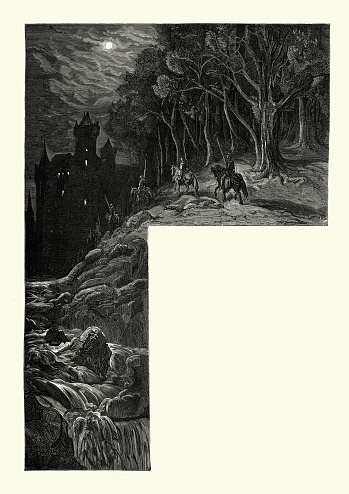 Vintage illustration of scene from Orlando Furioso illustrated by Gustave Dore. Questing Knights approaching the castle at night