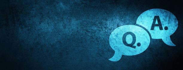 ilustraciones, imágenes clip art, dibujos animados e iconos de stock de pregunta respuesta burbuja icono especial bandera azul fondo - faq