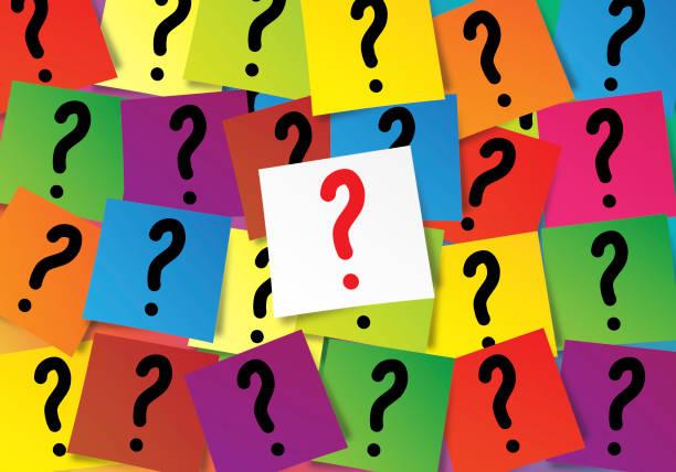 彩色小紙上的問號向量藝術插圖