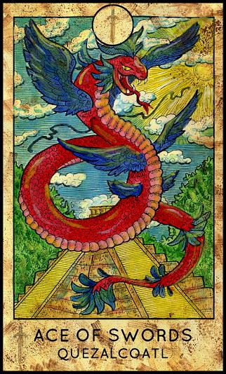 Quetzalcoatl. Ace of swords.