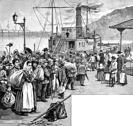 Queue before boarding a steamboat