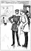 Quiet conversation between two Prussian officers in an art gallery - 1896